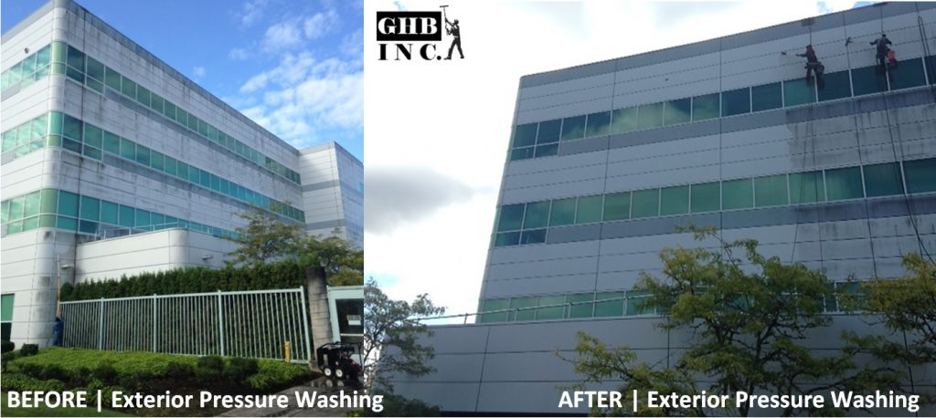 Before & After Exterior Building Pressure Washing